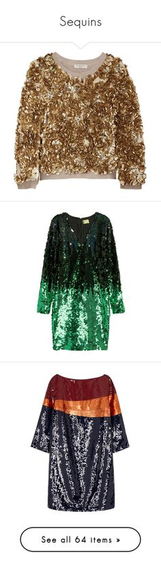 """""""Sequins"""" by polyandrea ❤ liked on Polyvore featuring tops, sweaters, gold, burberry sweater, sequin sweater, wool sweaters, sequin embellished top, burberry tops, dresses and h&m"""