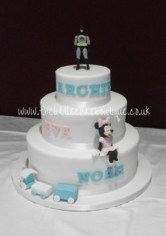 Batman, Minnie Mouse and toy train 3 tier christening cake for 3 children (triplets christening cake)