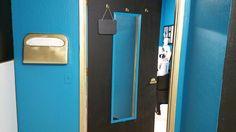 Metamorphosiz Photo Studio & Spa bathroom Black and white with gold and blue accents. Bathroom Black, Bathroom Spa, Facial Room, Scalp Micropigmentation, Beauty Lounge, Blue Accents, Facials, Bridal Makeup, Photo Studio