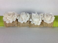 Burlap napkin holders with shabby ivory chiffon by simpleandsass, $16.00