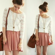 Vintage necklace, pink skirt and white top