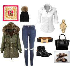 my outfit for school today by kaja-232 on Polyvore featuring moda, LE3NO, Topshop, Eugenia Kim, Lacoste and Hermès