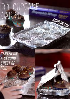 Did you know you could do this with tin foil? One-time use cupcake carrier