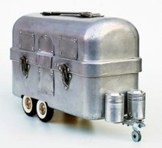 """Airstream Lunchbox - It is a Vintage Heavy Duty aluminum lunch box with a set of """"doubles"""" of an old Tonka dump truck and a pair of propane tanks for salt & pepper film canisters). Vintage Lunch Boxes, Vintage Travel Trailers, Vintage Campers, Vintage Airstream, Camping Glamping, Retro Camping, Camping Chairs, Happy Campers, Teardrop Trailer"""