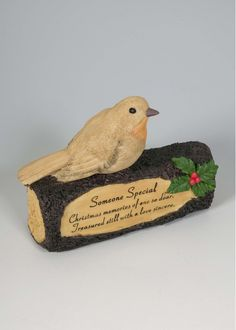 Someone Special Robin On Log Memorial Ornament Someone Special Christmas memories of one so dear. Treasured still with a love sincere. Beautiful detailed Robin on log with holly and berries decoration. Made from resin Suitable for outdoor use. 18 x 14 cm Memorial Plaques, Memorial Ornaments, Robin, Berries, Decoration, Christmas, Gifts, Outdoor, Beautiful