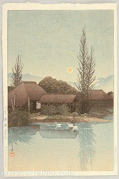 Kawase Hasui,Yanaginawa, Ukisima (Ukisima Yanaginawa ) / 浮島柳縄 , Woodblock print,ink and color on paper,Date:1936,Vertical ōban,Hotei:P492 #397,<--- Yanaginawa,Ukisima,Inashiki city,Ibaraki prefecture, Japan --->