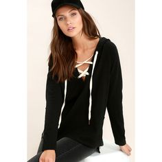Project Social T Bali Black Lace-Up Hoodie ($68) ❤ liked on Polyvore featuring tops, hoodies, black, lace up hoodies, sweatshirt hoodies, lace up hoodie, long sleeve knit tops and long sleeve hoodies