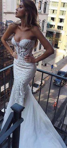 2017 wedding dress, long wedding dress, mermaid wedding dress, white lace wedding dress