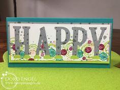 Stampin' Up! Card, Berry Burst, Bermuda, Lemon Lime Twist, Smokey Slate, Large Letter Framelits, Happy Birthday, Swirly Birds