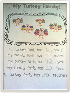"Miss Kindergarten: My Turkey Family. ""Draw a Turkey"" lesson, then use this printable to extend it into math. Cute!"