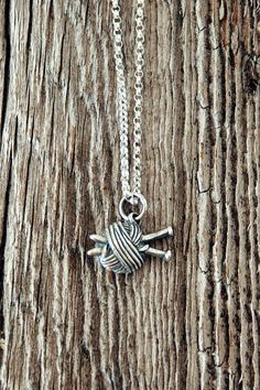 Sterling Silver Knitting Needles and Ball of Yarn Charm Necklace