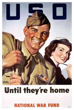 USO Poster, WWII. On 4 February 1941, the USO (United Service Organizations) was established to provide social clubs and entertainment for troops. Happy 75th Birthday, USO!