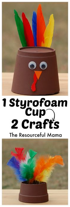 Thanksgiving kid craft turkey and Indian hat made from one cup!