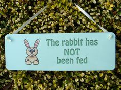 Rabbit has been Fed Reminder Personalised by Honeymellows on Etsy
