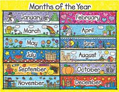 Looking for a Printable Months Year Chart. We have Printable Months Year Chart and the other about Printable Chart it free. Preschool Monthly Themes, Preschool Activities, Days And Months, Months In A Year, 12 Months, Ol Days, Moths Of The Year, Carson Dellosa, Class Decoration