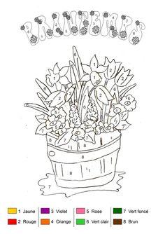 Coloriage magique - Bouquet de printemps