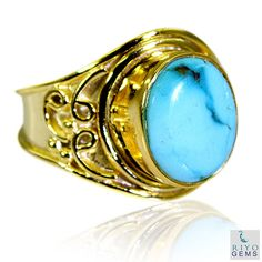 US $24.99 New with tags in Jewelry & Watches, Fashion Jewelry, Rings.Turquoise Base Matel Y Gold Cocktail Ring