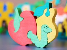 Wooden Fruits Puzzle, Child's Puzzle, Kid's wood Toys. Wooden toys, wooden animal puzzle. eco-friendly handmade toys, children. $10.00, via Etsy.
