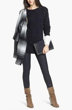 Stripe Coat, Cable Knit Sweater & Coated Jeans