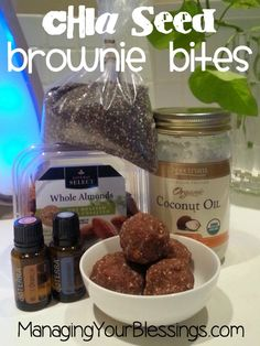 Chia Seeds Brownie Bites :: Come and check out this delicious brownie bites recipe using chia seeds and essential oils! :: ManagingYourBlessings.com