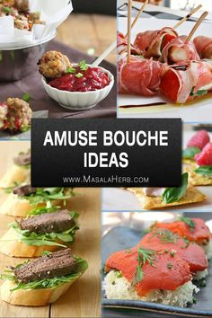 Amuse Bouche Ideas - Bite Sized Hors d'Oeuvres Recipes A compilation of various amuse bouche ideas to help you pick a good selection of tiny party food appetizers for your guests. You will have a choice of veg and non-veg bite sized hors d'oeuvres rec New Year's Eve Appetizers, Meat Appetizers, Appetizer Recipes, Party Appetizers, Inexpensive Appetizers, Appetizer Dishes, Elegant Appetizers, Party Snacks, Amuse Bouche Ideas