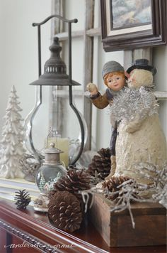 A few winter decorations on the fireplace mantel makes your home warm and cozy for the season!     anderson + grant