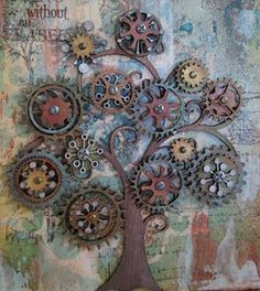 "Love it! Gears and hubcaps are so fun to work with! (these are gears, I'm speaking of Venice Cafe in St. Louis with hubcaps everywhere and repurposed ""junk"" turned artistic sculpture)"