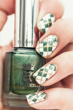Argyle nails nail art nail polish a england dragon white green gold
