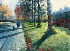Autumn on Goose Green Yate, Bristol, England by Tim Wilmot ( watercolor)