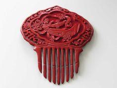 Haarkamm Steckkamm Rotlack Guanjin China Cinnabar Lacquer Lackarbeit | eBay