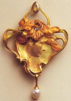 Art Nouveau jewelry. Colgante en oro de ley (18 kt)