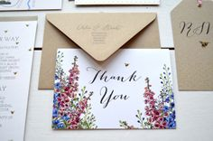 Bespoke wedding invitations and stationery custom design hand drawn map flowers delphiniums lake district RSVP tags bee
