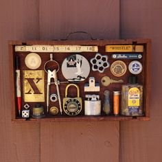 rose and rust round assemblage button box