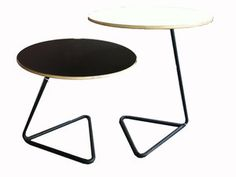 Small couple of white and yellow tables,original lergs by Mathieu Matégot for sale at Deconet