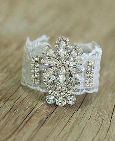 Bridal  jewelry, Bridal Bracelet, Bridal Cuff Bracelet, Accessories ,Sparkle Rhinestone, Wedding Jewelry ,White lace Bracelet