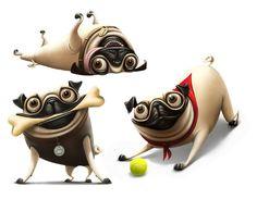 Pugs by Anna Kulakovskaja, via Behance  @Raphael Schaad Imenes Esse é para vc!!!!! hahaha