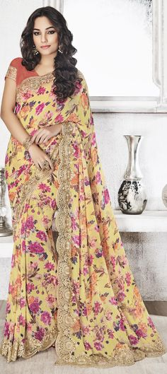 723945 Multicolor color family Embroidered Sarees, Printed Sarees in Faux Georgette fabric with Floral, Lace, Machine Embroidery, Printed, Thread work with matching unstitched blouse.