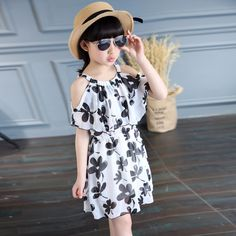 Summer Girl Dress Cotton Casual Children Clothing O-Neck Cartoon Kids Dresses For Girls Fashion Baby Clothes For Girls 6-12 Y