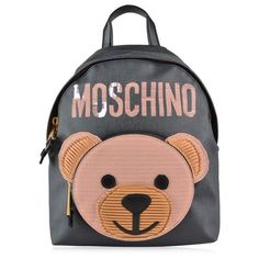 MOSCHINO Teddybear Backpack found on Polyvore featuring bags, backpacks, real leather backpack, moschino backpack, zip bag, leather zipper backpack and leather bags