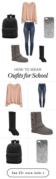 School. by autumn-hoppes on Polyvore featuring J Brand, MANGO, UGG Australia, Hue, Vans and Topshop