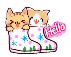 LINE Creators' Stickers - Greeting Stickers Gifs, Hi Gif, Emoji, Love You Best Friend, Mickey And Friends, Line Sticker, Cute Images, Custom Stickers, I Love Cats