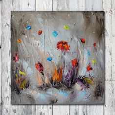 Modern Poppies Painting Flowers fields paintings Art Painting Colorful PALETTE KNIFE Fine Art Textured Oil Painting on Canvas free shipping
