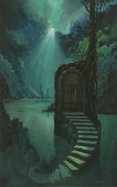 Entrada de Lugaralgum. Portal. Lar do Proscrito. O Abrigo Sobre o Lago. -  por Artista Desconhecido