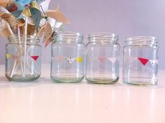 Make mason jars just a little more special. | 56 Adorable Ways To Decorate With Washi Tape