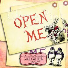 Alice Vintage Tags Set 5 Alice in Wonderland by CherryPinkPrints, $4.00