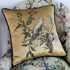 Timorous Beasties Gold On Golden Oriole Cushion Butterfly Cushion, Owl Cushion, Bee Fabric, Floral Fabric, Hoopoe Bird, Long Eared Owl, Timorous Beasties, Cushions Online, Red Squirrel