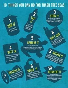 Ocean Conservancy: 10 Things You Can Do for Trash Free Seas manufactures with sustainability. Ocean Pollution, Plastic Pollution, Clean Ocean, Beach Clean Up, Marine Debris, Save Our Oceans, Save Our Earth, Marine Biology, Reuse Recycle