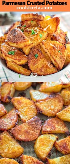 These tasty Parmesan Crusted Potatoes are so addictive that you wont be able to stop eating until you finish them all! These tasty Parmesan Crusted Potatoes are so addictive that you wont be able to stop eating until you finish them all! Potato Dishes, Potato Recipes, Vegetable Recipes, Vegetarian Recipes, Cooking Recipes, Healthy Recipes, Recipes For Appetizers, Cooking Videos Tasty, Potato Food
