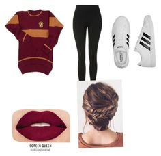 Gryffindor by hufflepuff394 on Polyvore featuring polyvore, Topshop, adidas, Smashbox, fashion, style and clothing