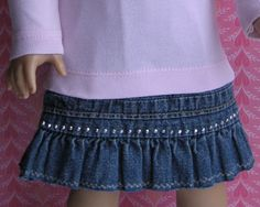 A Doll for all Seasons: How to recycle a denim skirt into a skirt for your doll